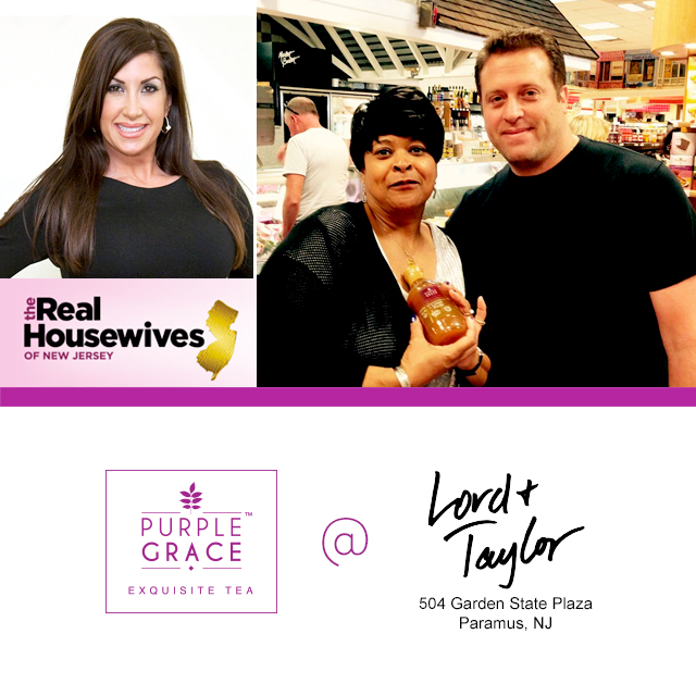 Purple grace tea jacqueline laurita of real housewives of new jersey at lord and taylor on for Lord and taylor garden state plaza